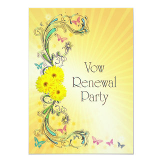 Vow Renewal party Invitation with yellow flower