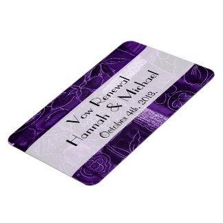 Vow Renewal - Patchwork, Flowers, Swirls - Purple Rectangular Photo Magnet