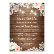 Vow Renewal Rustic Mason Jar Lights Lace Floral Invitation