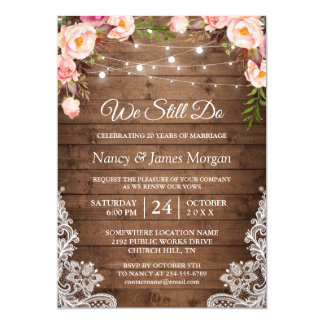 Vow Renewal Rustic Wood String Lights Lace Floral Card