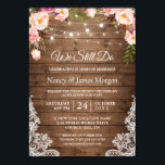 """Vow Renewal Rustic Wood String Lights Lace Floral Invitation<br><div class=""""desc"""">Create the perfect Wedding Vow Renewal invite with this &quot;Rustic Wood String Lights Lace Floral Invitation&quot; template. This high-quality design is easy to customize to match your colors, styles and theme. (1) For further customization, please click the &quot;customize further&quot; link and use our design tool to modify this template. (2)...</div>"""