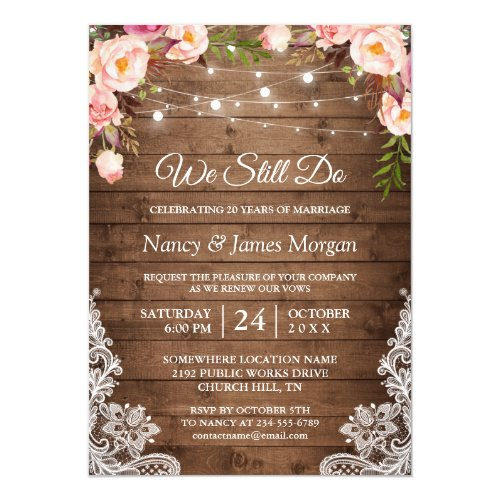 Vow Renewal Rustic Wood String Lights Lace Floral Invitation