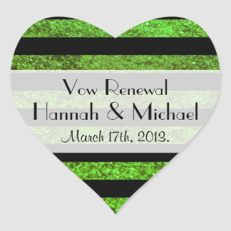 Vow Renewal - Stripes, Lines, Glitter - Green Heart Sticker