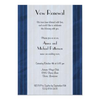 Vow Renewal - Stripes (Parallel Lines) - Blue 5x7 Paper Invitation Card