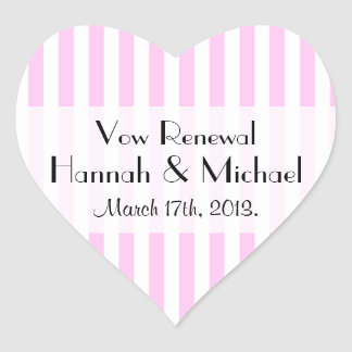 Vow Renewal - Stripes (Parallel Lines) - Pink Heart Sticker