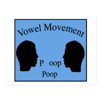 Vowel Movement - Blue Postcard
