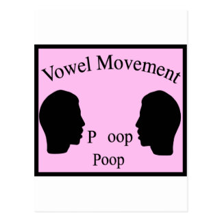 Vowel Movement - Pink Postcard