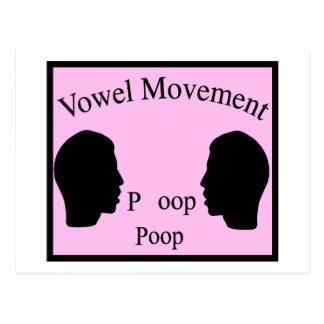 Vowel Movement - Pink Postcard