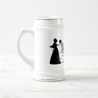 Voxeed Bride Silhouette Black Glitter Beer Stein
