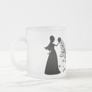 Voxeed Bride Silhouette Black Glitter Frosted Glass Coffee Mug