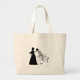 Voxeed Bride Silhouette Black Glitter Large Tote Bag