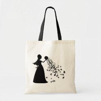 Voxeed Bride Silhouette Black Glitter Tote Bag