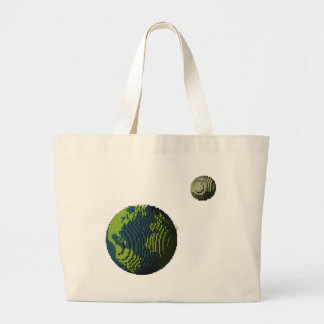 Voxel Art of Earth and Moon Large Tote Bag