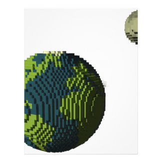Voxel Art of Earth and Moon Letterhead