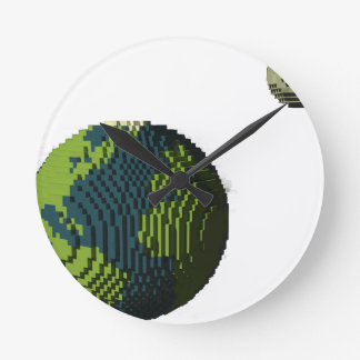 Voxel Art of Earth and Moon Round Clock