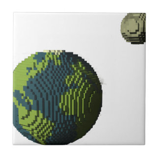 Voxel Art of Earth and Moon Tile