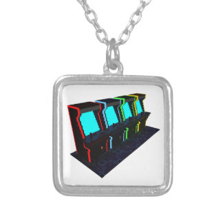 Voxel Art of Some Arcade Games Silver Plated Necklace