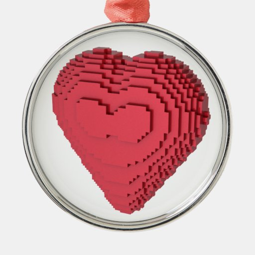 Voxel heart round metal christmas ornament zazzle