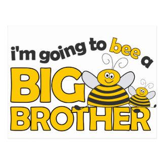 Voy a la ABEJA una camiseta de hermano mayor Tarjetas Postales