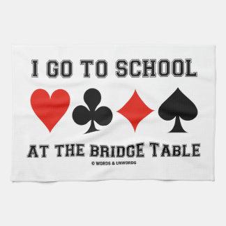 Voy a la escuela en la tabla del puente (el humor toallas