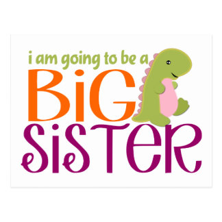 Voy a ser un dinosaurio de la hermana grande tarjeta postal