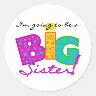 Voy a ser una hermana GRANDE Pegatina Redonda