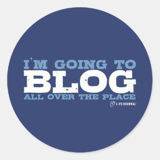 Voy al blog por todas partes (LiveJournal) Pegatina Redonda