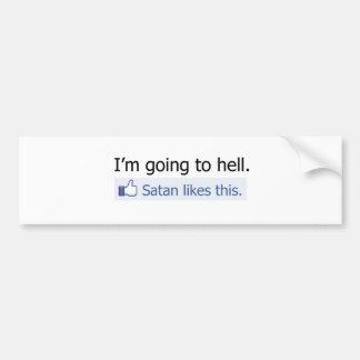 Voy al infierno etiqueta de parachoque