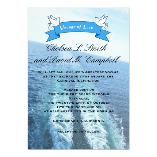 Voyage Of LoveCruise ShipDestination Wedding 5x7 Paper