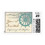 voyage wedding invitation postage stamps