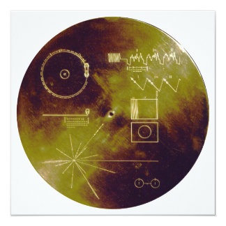 """Voyager 1 and 2 Golden Record Sounds of Earth 5.25"""" Square Invitation Card"""