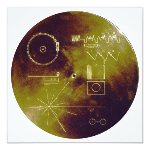 Voyager 1 and 2 Golden Record Sounds of Earth 5.25x5.25 Square Paper Invitation Card