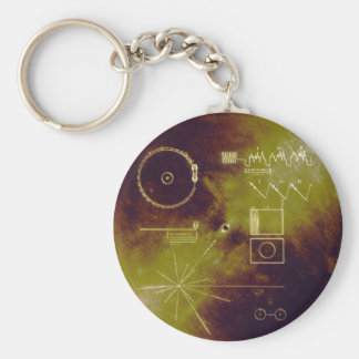 Voyager 1 and 2 Golden Record Sounds of Earth Basic Round Button Keychain