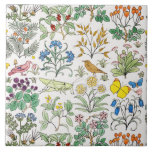 """Voysey Apothecary&#39;s Garden Art Tile Trivet<br><div class=""""desc"""">Birds, grasshoppers, butterflies, medicinal herbs, flowers, berries and mushrooms -- it&#39;s an apothecary&#39;s garden after all. Inspired by illustrations in a seventeenth-century herbal and arranged in a charming pattern, Apothecary&#39;s Garden is at once playful, airy and elegant. Whether as a decorative Art Tile or framed trivet, It would make a...</div>"""