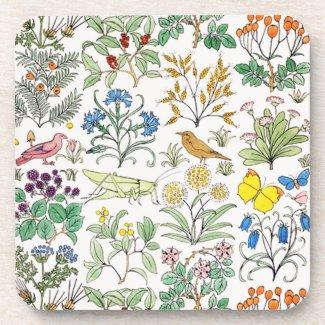 Voysey Apothecary's Garden Cork Coaster Set