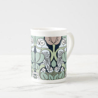 Voysey Art Nouveau Owl Nest Pattern Bone China Mug