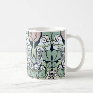 Voysey Art Nouveau Owl Nest Pattern Coffee Mug