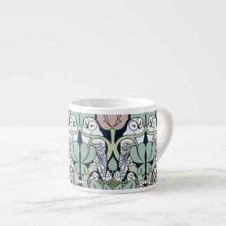 Voysey Art Nouveau Owl Nest Pattern Espresso Mugs