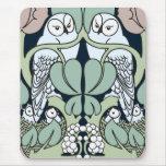 Voysey Art Nouveau Owl Nest Pattern Mouse Pad