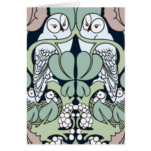 Voysey Art Nouveau Owl Nest Pattern Note Cards