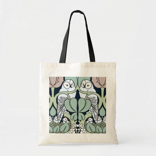 Voysey Art Nouveau Owl Nest Pattern Tote Bag