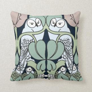 Voysey Art Nouveau Owls Nest Pattern Throw Pillow