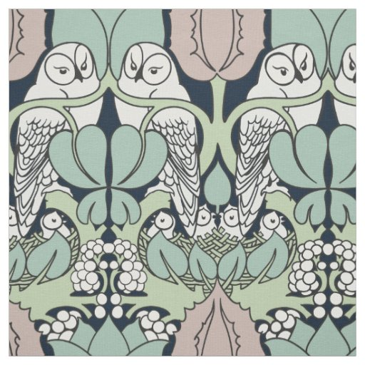Voysey owl arts and crafts art nouveau fabric zazzle for Arts and crafts style prints