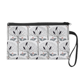 Voysey Rook and Holly Christmas Pattern Wristlet
