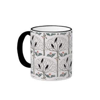 Voysey Rook and Holly Pattern Christmas Coffee Mug