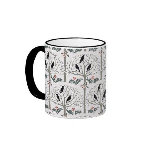 Voysey Rook and Holly Pattern Christmas Coffee Mug mug