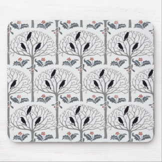 Voysey Rook and Holly Pattern Christmas Mousepad