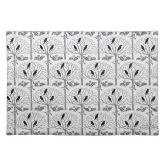 Voysey Rook and Holly Pattern Christmas Placemat Cloth Placemat