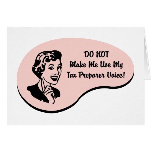 Voz del preparador de impuesto tarjeton
