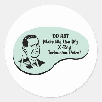 Voz del técnico de la radiografía etiquetas redondas